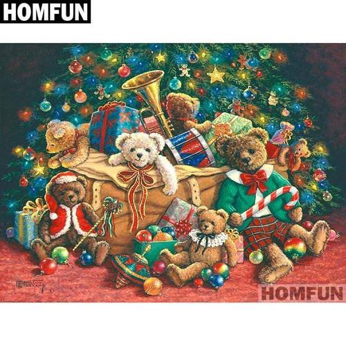 5D Diamond Painting Christmas Bears and Toys Kit