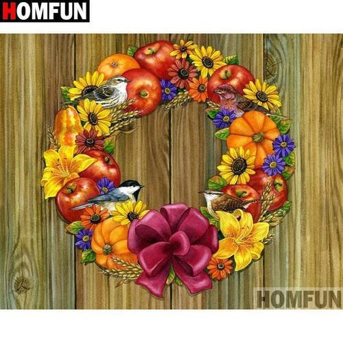 5D Diamond Painting Apple & Pumpkin Wreath Kit