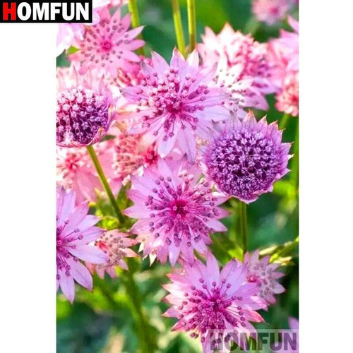 5D Diamond Painting Bright Pink Flowers Kit