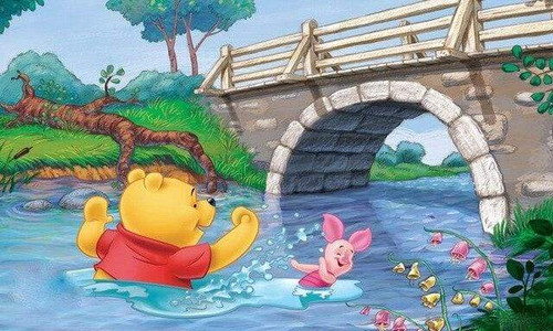5D Diamond Painting WInnie the Pooh and Piglet River Swimming Kit