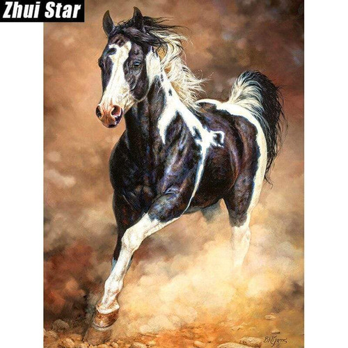 5D Diamond Painting Galloping Black and White Horse Kit