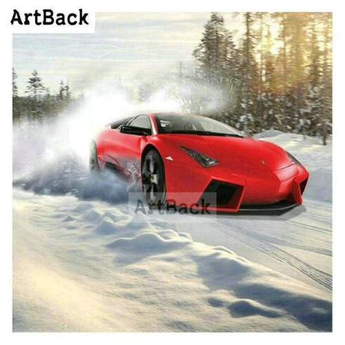 5D Diamond Painting Red Car in the Snow Kit