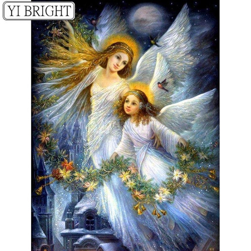 5D Diamond Painting Two Angels and Garland Kit