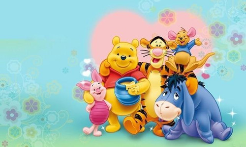 5D Diamond Painting Pink Heart Winnie the Pooh and Friends Kit