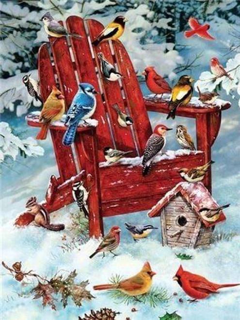 5D Diamond Painting Snow Birds on a Red Chair Kit