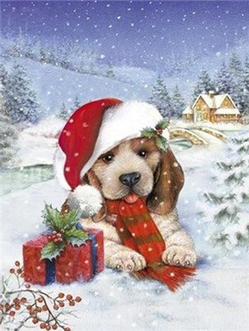 5D Diamond Painting Puppy and a Christmas Present Kit