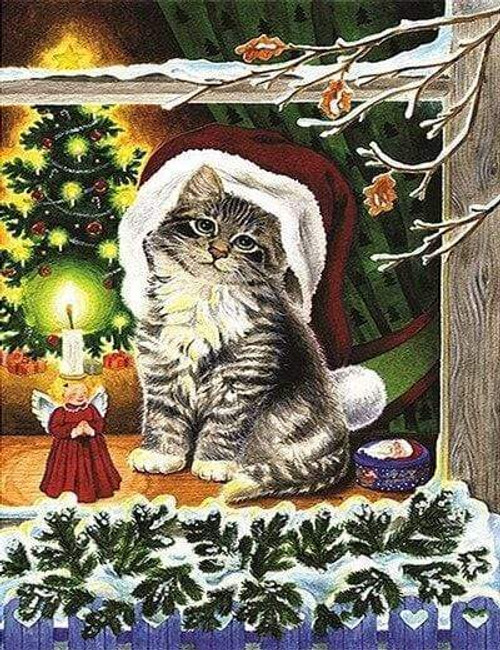5D Diamond Painting Angel Candle and Christmas Cat Kit