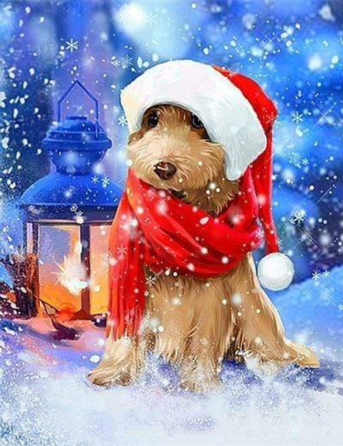 5D Diamond Painting Red Scarf Dog in the Snow Kit