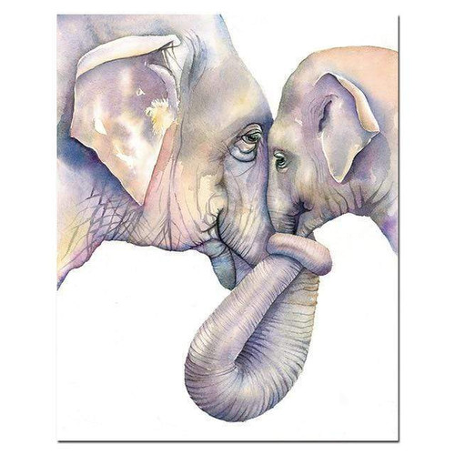 5D Diamond Painting Baby and Mother Elephant Kit
