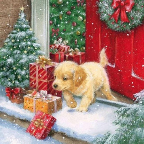 5D Diamond Painting Puppy and Christmas Presents Kit