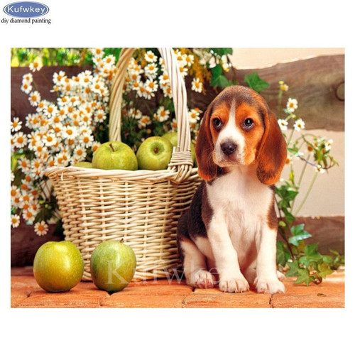 5D Diamond Painting Beagle and a Basket of Apples Kit