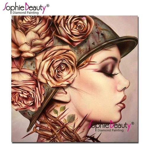 5D Diamond Painting Rose Thorn Helmet Girl Kit