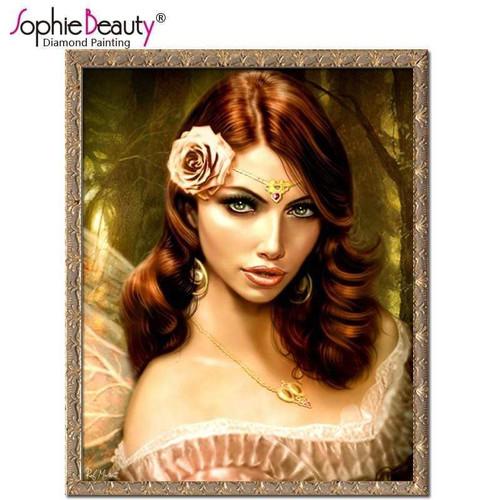 5D Diamond Painting Pink Rose Diadem Girl Kit