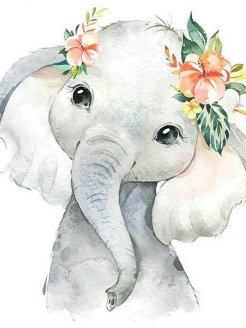5D Diamond Painting Baby Elephant with Flowers Kit