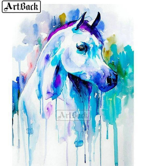 5D Diamond Painting Blue Abstract Painted Pony Kit