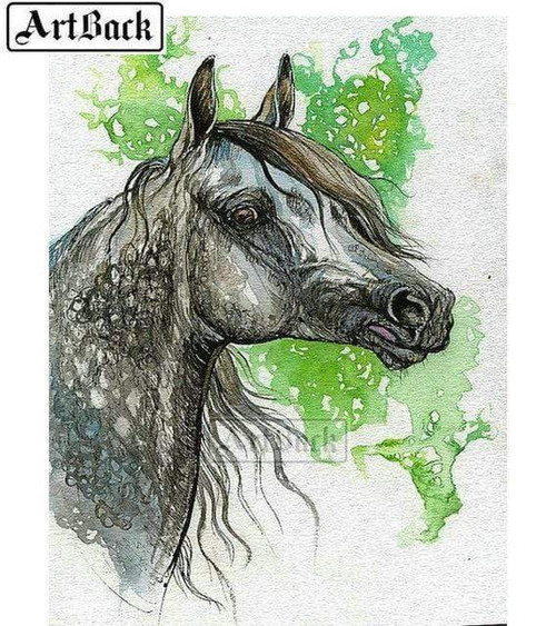 5D Diamond Painting Green Paint Gray Horse Kit