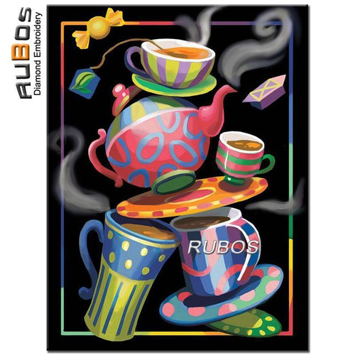 5D Diamond Painting Bright Colored Tea and Coffee Cups Kit