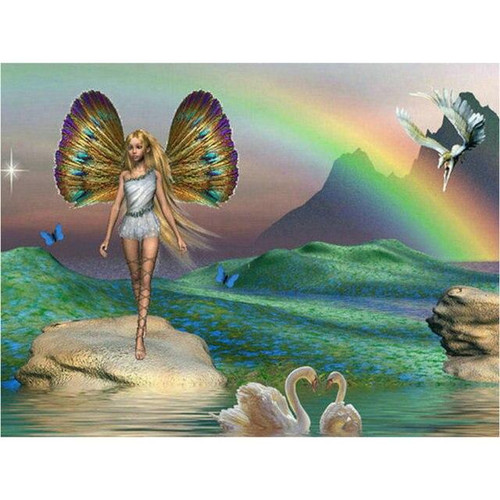 5D Diamond Painting Swans and Butterfly Fairy Kit