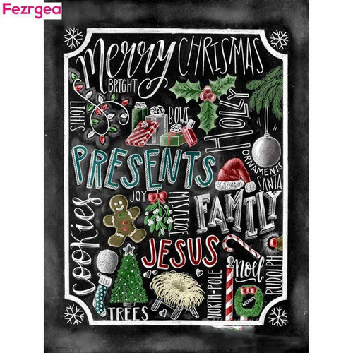 5D Diamond Painting Merry Christmas Black Board Kit