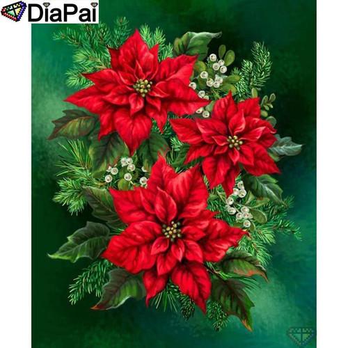 5D Diamond Painting Christmas Poinsettias Kit