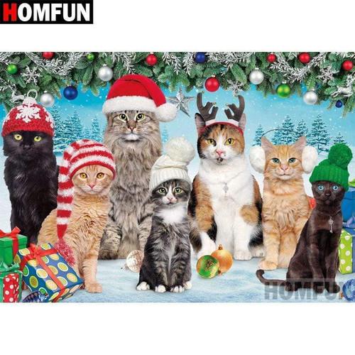 5D Diamond Painting Seven Christmas Cats Kit