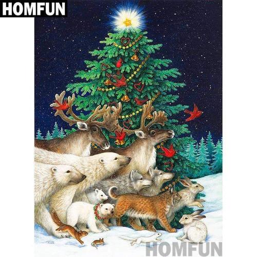 5D Diamond Painting Snow Animals Christmas Tree Kit