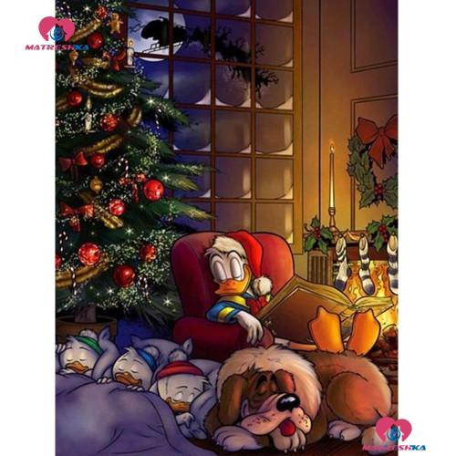 5D Diamond Painting Donald Duck and His Nephews Christmas Kit