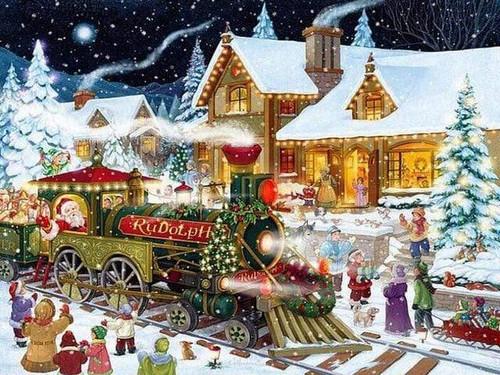 5D Diamond Painting Rudolph Christmas Train Kit