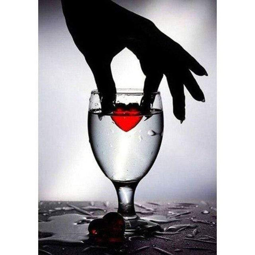 5D Diamond Painting Red Heart in a Glass Kit