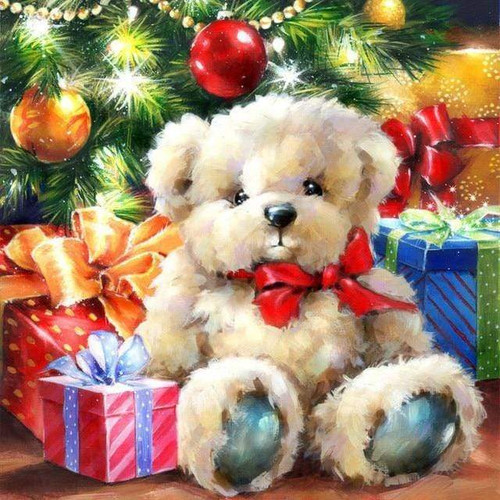 5D Diamond Painting Stuffed Christmas Bear Kit