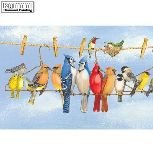 5D Diamond Painting Birds on a Clothesline Kit