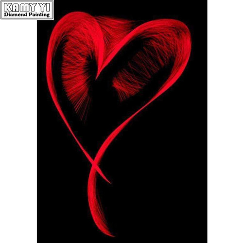 5D Diamond Painting Abstract Red Heart Kit