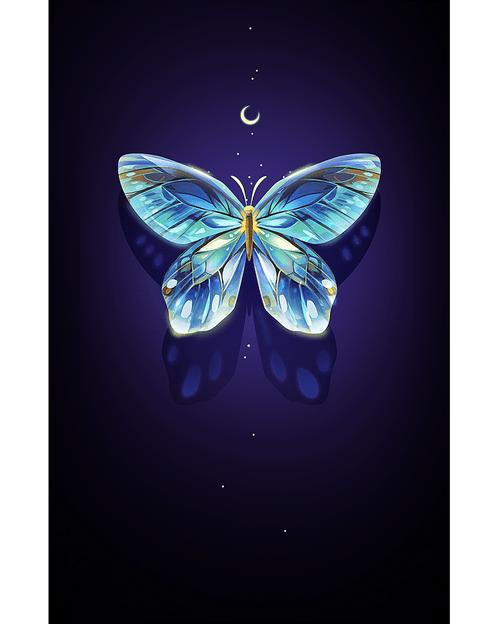 5D Diamond Painting Crescent Moon Butterfly Kit