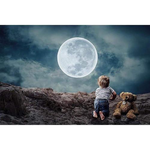 5D Diamond Painting Little Boy & Bear Moon Kit