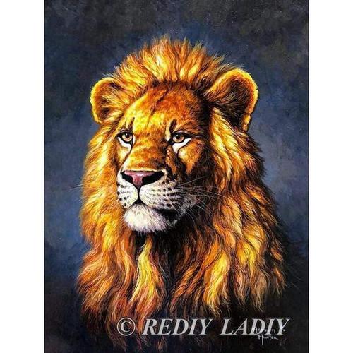 5D Diamond Painting Blue-Gray Background Lion Portrait Kit