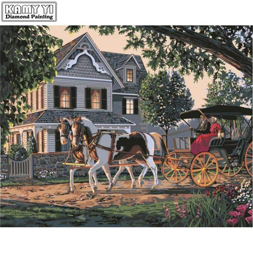 5D Diamond Painting Two Horse Drawn Carriage Kit