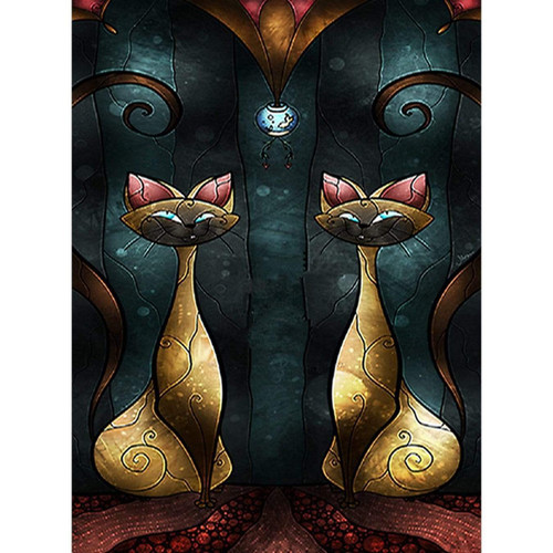 5D Diamond Painting Two Abstract Siamese Cats Kit