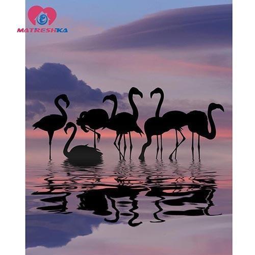 5D Diamond Painting Flamingo Silhouettes Kit