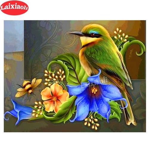5D Diamond Painting Green Bird and Flowers Kit