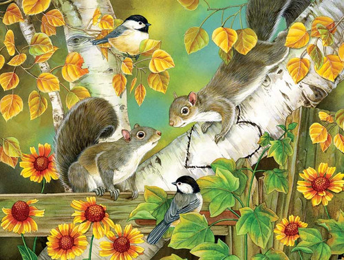 5D Diamond Painting Squirrels and Birds in the Trees Kit