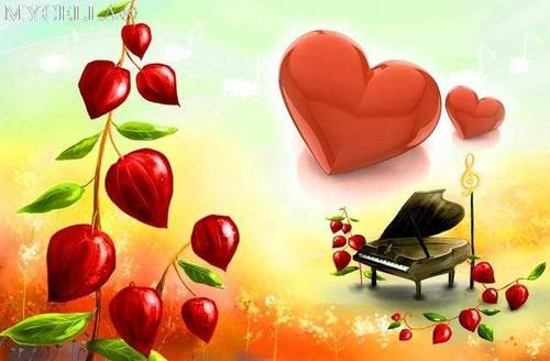 5D Diamond Painting Red Heart Piano Kit
