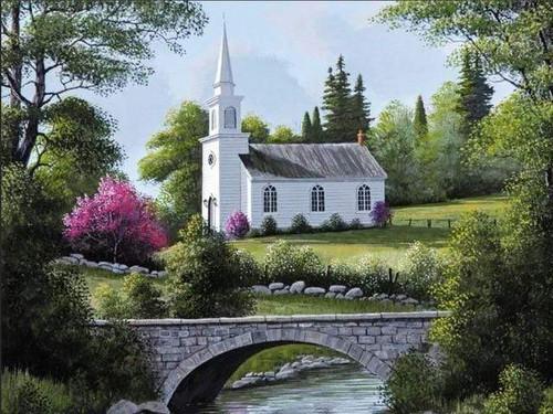 5D Diamond Painting Bridge by the White Church Kit