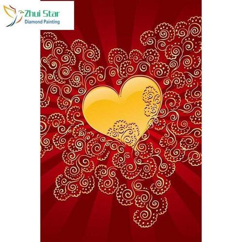 5D Diamond Painting Gold Heart and Swirls Kit