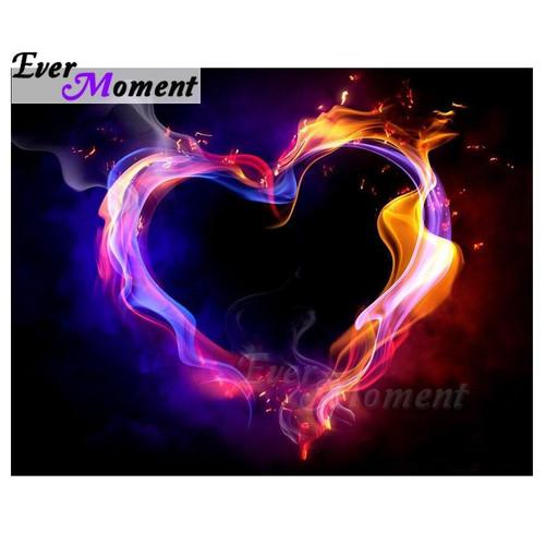 5D Diamond Painting Pink & Orange Fire Heart Kit