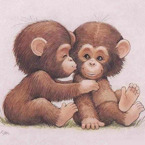 5D Diamond Painting Two Little Monkeys Kit
