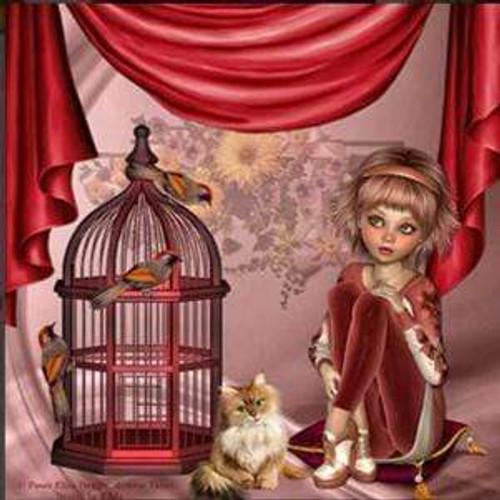 5D Diamond Painting Red Birdcage Girl Kit