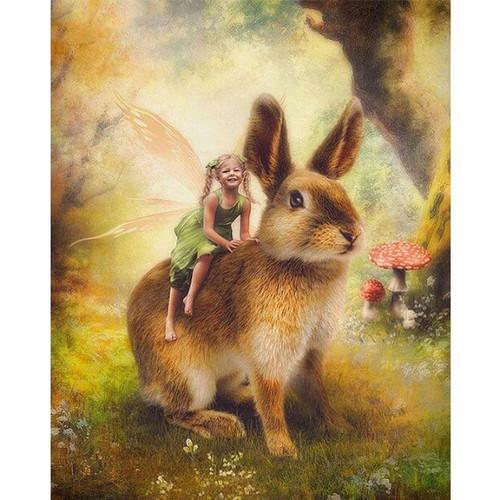5D Diamond Painting Bunny Riding Fairy Kit