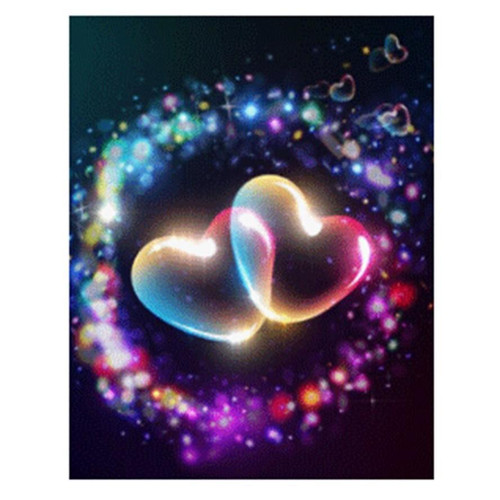 5D Diamond Painting Two Glowing Hearts Kit