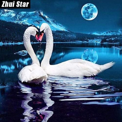 5D Diamond Painting Two Swan Moon Kit