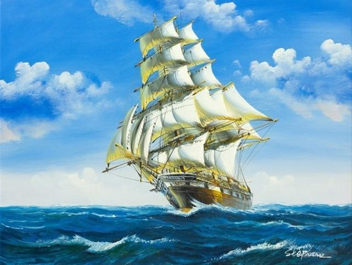 5D Diamond Painting Blue Sky with Clouds Sailing Ship Kit